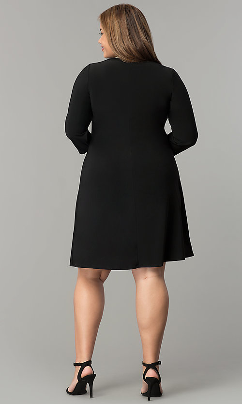 Image of short high-neck black holiday plus-size dress. Style: JU-TI-T90544 Detail Image 3