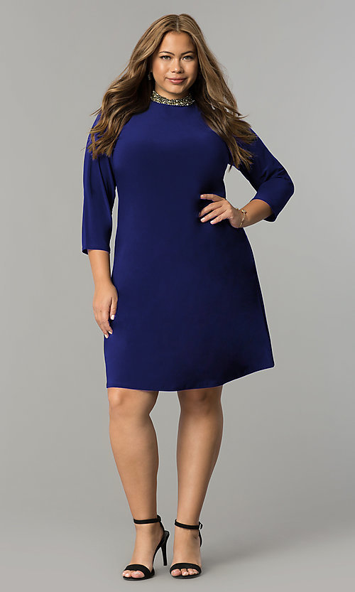 Image of short high-neck black holiday plus-size dress. Style: JU-TI-T90544 Front Image