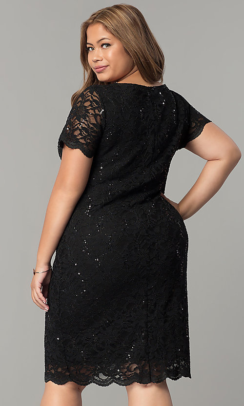 Short Sleeved Plus Size Lace Party Dress Promgirl