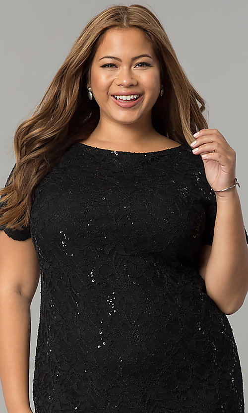 Image of lace and sequin plus-size party dress by Tiana B. Style: JU-TI-T90661 Detail Image 1