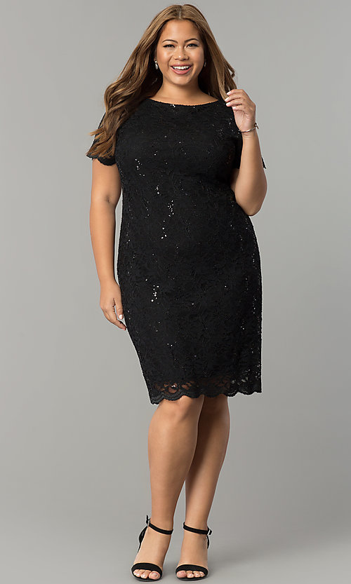 Image of lace and sequin plus-size party dress by Tiana B. Style: JU-TI-T90661 Detail Image 2