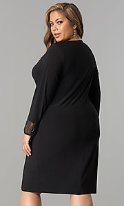 Image of black cowl-neck long-sleeve short plus party dress. Style: JU-TI-899027 Back Image