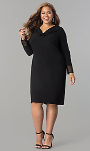 Image of black cowl-neck long-sleeve short plus party dress. Style: JU-TI-899027 Detail Image 1
