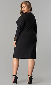 Image of black cowl-neck long-sleeve short plus party dress. Style: JU-TI-899027 Detail Image 2