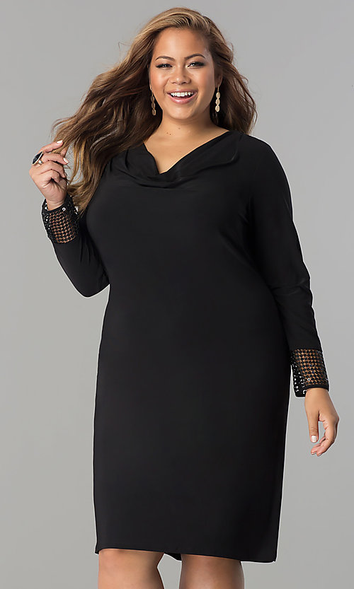 Image of black cowl-neck long-sleeve short plus party dress. Style: JU-TI-899027 Front Image