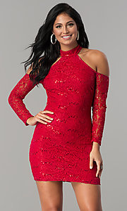 Image of long-sleeve sequin-lace cold-shoulder party dress. Style: MCR-2452 Front Image