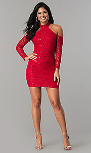 Image of long-sleeve sequin-lace cold-shoulder party dress. Style: MCR-2452 Detail Image 1