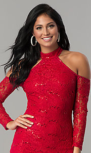 Image of long-sleeve sequin-lace cold-shoulder party dress. Style: MCR-2452 Detail Image 3