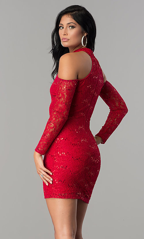 Image of long-sleeve sequin-lace cold-shoulder party dress. Style: MCR-2452 Back Image