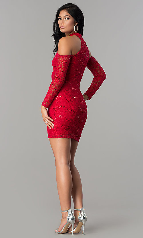 Image of long-sleeve sequin-lace cold-shoulder party dress. Style: MCR-2452 Detail Image 2