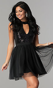 Image of cut-out sequin-bodice short a-line homecoming dress. Style: MCR-2460 Detail Image 2