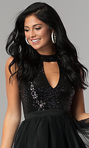 Image of cut-out sequin-bodice short a-line homecoming dress. Style: MCR-2460 Detail Image 3