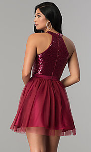Image of cut-out sequin-bodice short a-line homecoming dress. Style: MCR-2460 Back Image