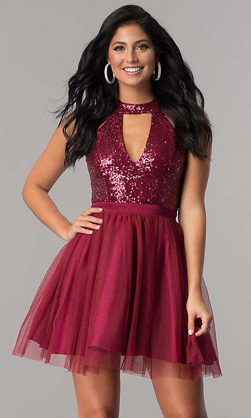 Image of cut-out sequin-bodice short a-line homecoming dress. Style: MCR-2460 Front Image