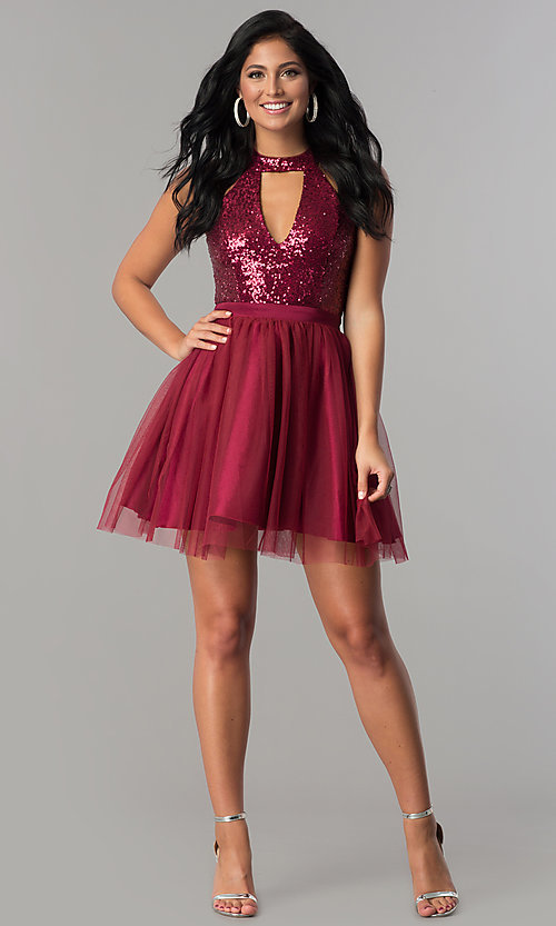 Image of cut-out sequin-bodice short a-line homecoming dress. Style: MCR-2460 Detail Image 1