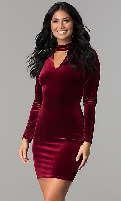 Image of sleeved burgundy velvet short holiday party dress. Style: MCR-2454 Front Image