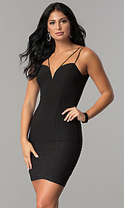 Black Metallic Ribbed-Jersey Fitted Party Dress