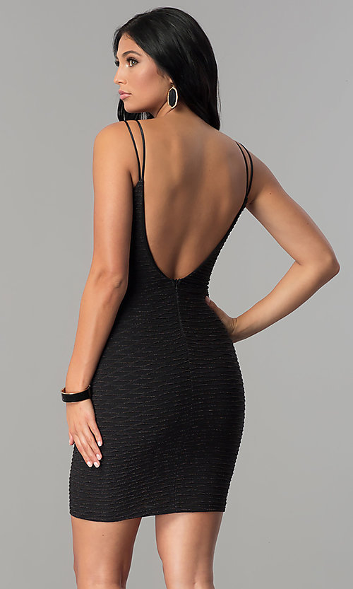 Image of black metallic ribbed-fitted party dress. Style: MCR-2461 Back Image