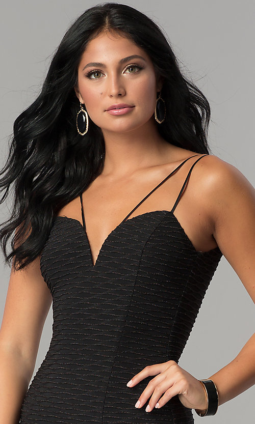 Image of black metallic ribbed-fitted party dress. Style: MCR-2461 Detail Image 1