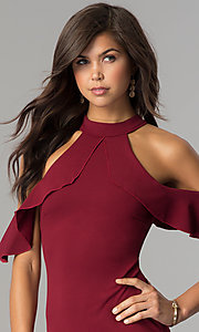 Image of short cold-shoulder flounce homecoming dress. Style: MCR-2447 Detail Image 1