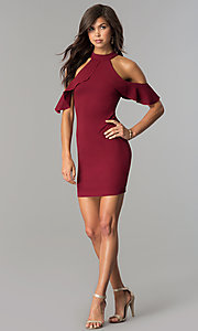 Image of short cold-shoulder flounce homecoming dress. Style: MCR-2447 Detail Image 2