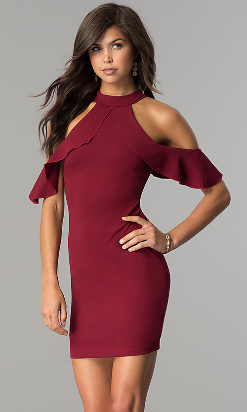 Image of short cold-shoulder flounce homecoming dress. Style: MCR-2447 Front Image