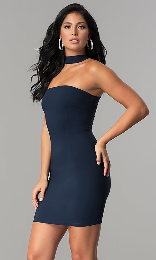 Image of short strapless navy blue party dress with choker. Style: MCR-2453 Front Image