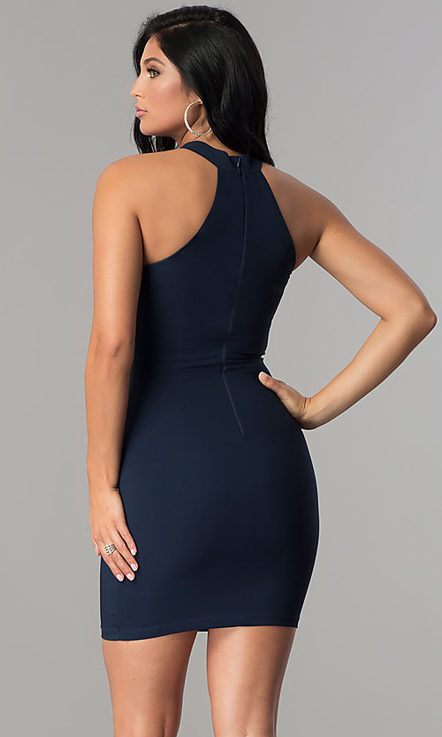 Image of short strapless navy blue party dress with choker. Style: MCR-2453 Back Image