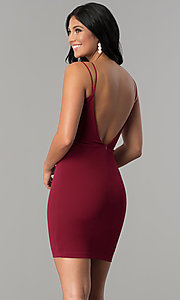 Image of scoop-back sweetheart fitted short party dress. Style: MCR-2459 Back Image