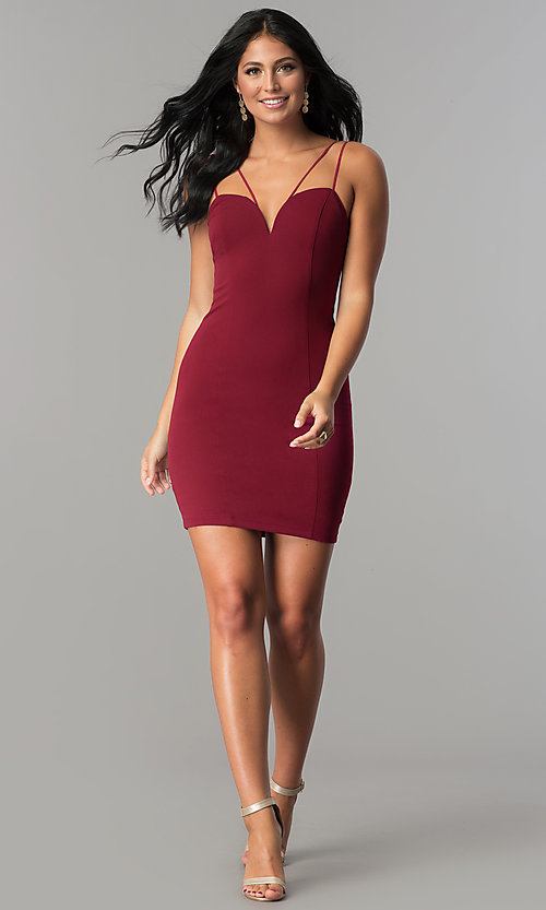 Image of scoop-back sweetheart fitted short party dress. Style: MCR-2459 Detail Image 2
