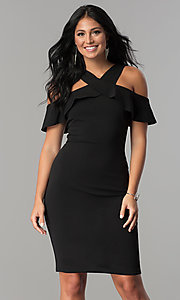 Image of black ruffled cold-shoulder knee-length party dress. Style: MCR-2465 Front Image