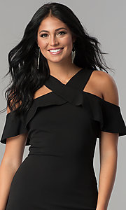 Image of black ruffled cold-shoulder knee-length party dress. Style: MCR-2465 Detail Image 1