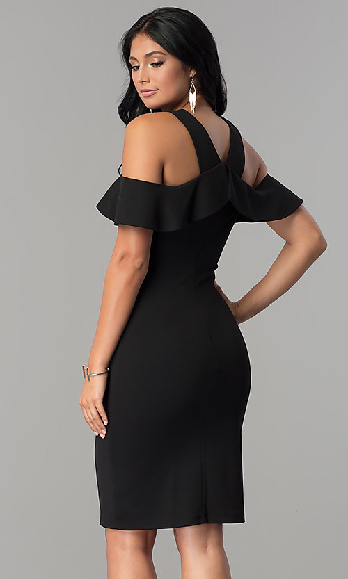Image of black ruffled cold-shoulder knee-length party dress. Style: MCR-2465 Back Image