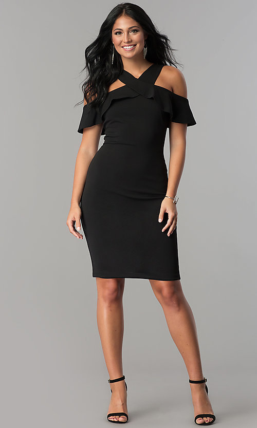 Image of black ruffled cold-shoulder knee-length party dress. Style: MCR-2465 Detail Image 2