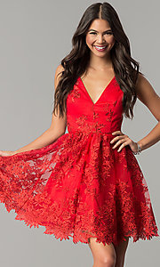 Image of short embroidered red wedding-guest party dress. Style: DMO-J318977 Front Image