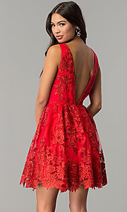 Image of short embroidered red wedding-guest party dress. Style: DMO-J318977 Back Image