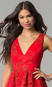 Image of short embroidered red wedding-guest party dress. Style: DMO-J318977 Detail Image 1
