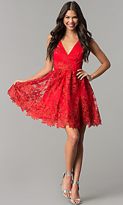 Image of short embroidered red wedding-guest party dress. Style: DMO-J318977 Detail Image 2