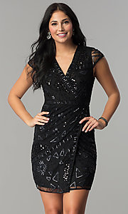 Mock-Wrap Short Sequin Holiday Party Dress