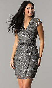 Image of mock-wrap short sequin holiday party dress. Style: VE-628-213925 Front Image