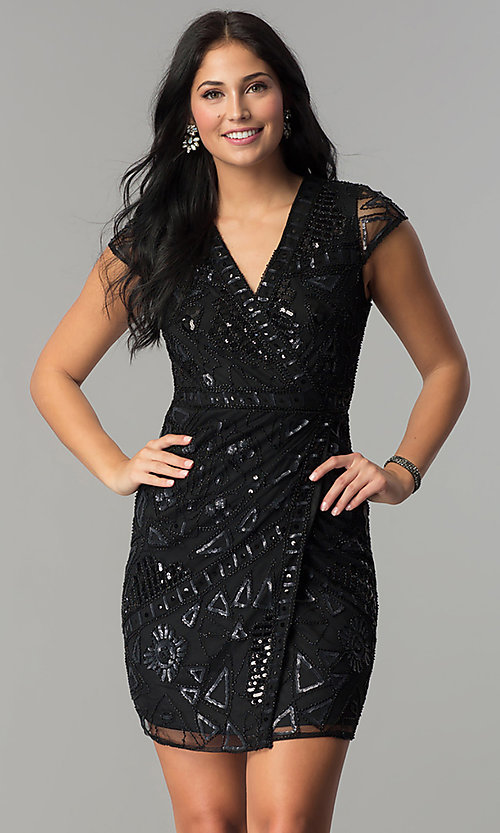 Image of mock-wrap short sequin holiday party dress. Style: VE-628-213925 Detail Image 2