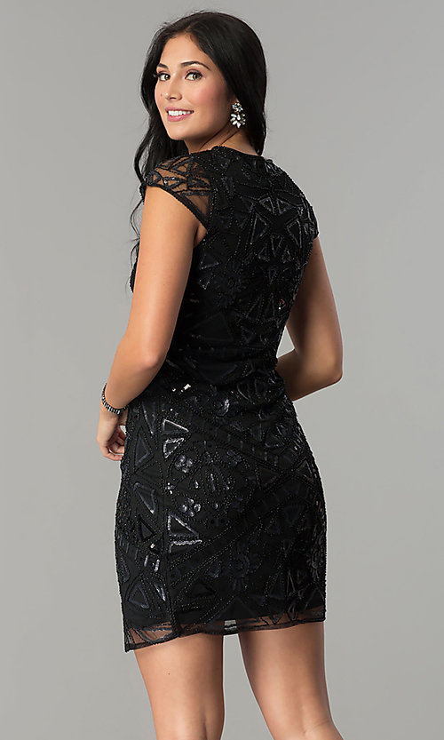 Image of mock-wrap short sequin holiday party dress. Style: VE-628-213925 Back Image