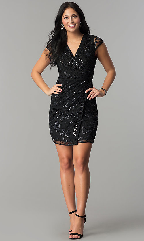 Image of mock-wrap short sequin holiday party dress. Style: VE-628-213925 Detail Image 3