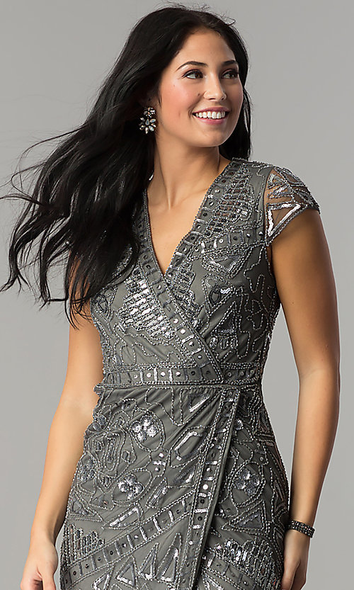 Image of mock-wrap short sequin holiday party dress. Style: VE-628-213925 Detail Image 1