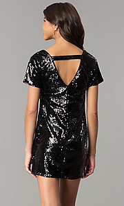 Image of sequin short mini party dress with short sleeves. Style: VE-885-211269 Back Image