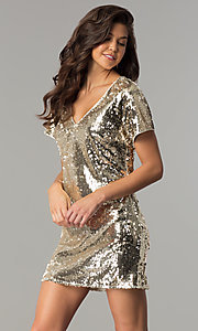 Image of sequin short mini party dress with short sleeves. Style: VE-885-211269 Detail Image 2