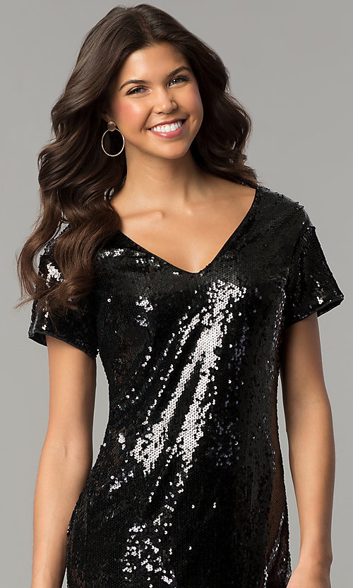Image of sequin short mini party dress with short sleeves. Style: VE-885-211269 Detail Image 1