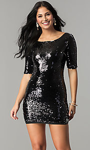 Reversible Sequin Short Party Dress with Sleeves