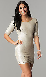 Image of reversible sequin short party dress with sleeves. Style: VE-884-211994 Detail Image 2
