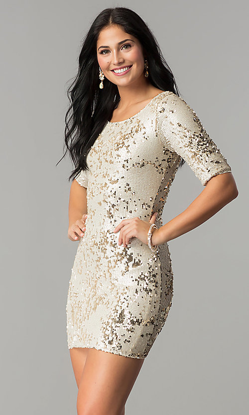 Image of reversible sequin short party dress with sleeves. Style: VE-884-211994 Detail Image 3